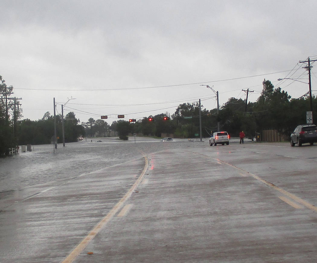 Special to the Pahrump Valley Times Drivers try to negotiate flooded streets and highways in south Texas this week as rain continues to fall in the Lone Star state.