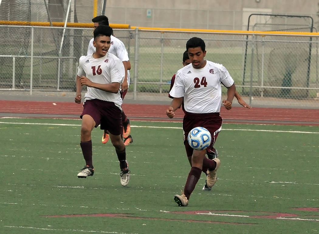 Christian Gonzalez takes the ball downfield on Wednesday during the Trojans home opener. The Pahrump Valley boys team hopes to turn things around this year.