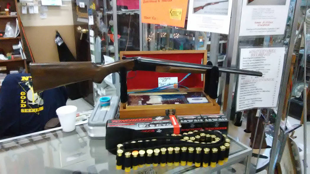 Selwyn Harris/Pahrump Valley Times This 20-gauge, Side-by-Side Coach Shotgun will be raffled off at Nye Emporium on Sunday at noon. The tickets are available at shop at 850. S. Lola Lane, as well  ...