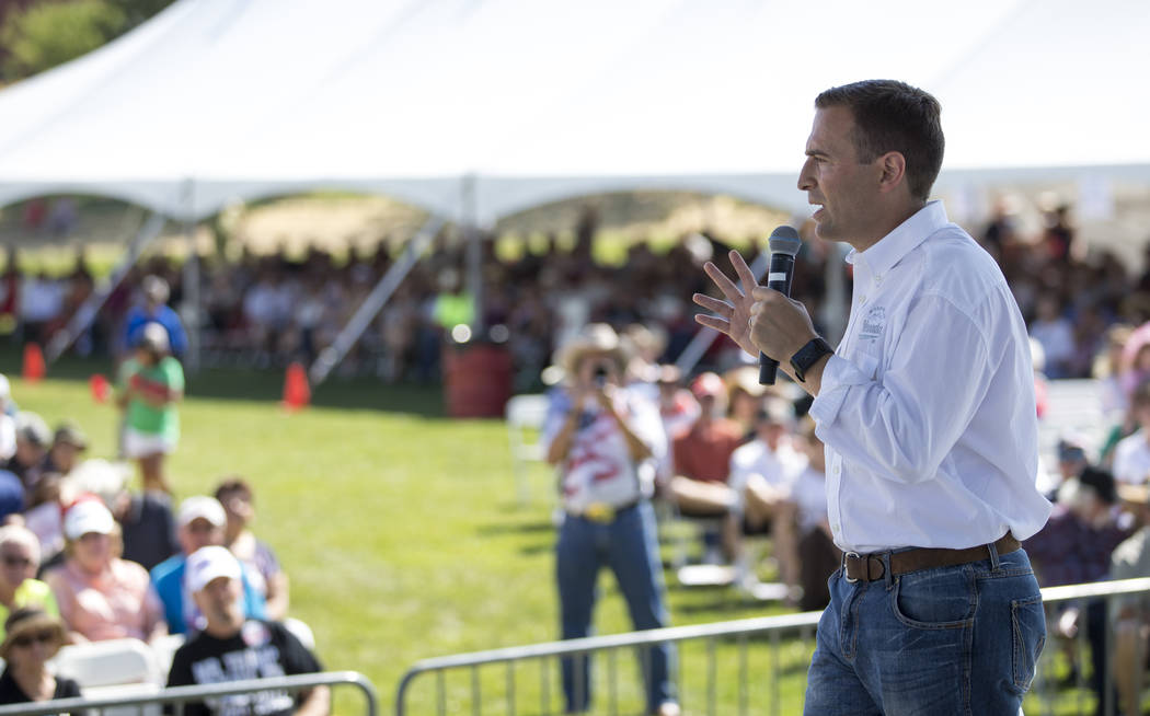 Nevada Attorney General Adam Laxalt addresses the crowd during the third annual Basque Fry held at Corley Ranch in Gardnerville, Nev. on Saturday, Aug. 26, 2017. Richard Brian Las Vegas Review-Jou ...
