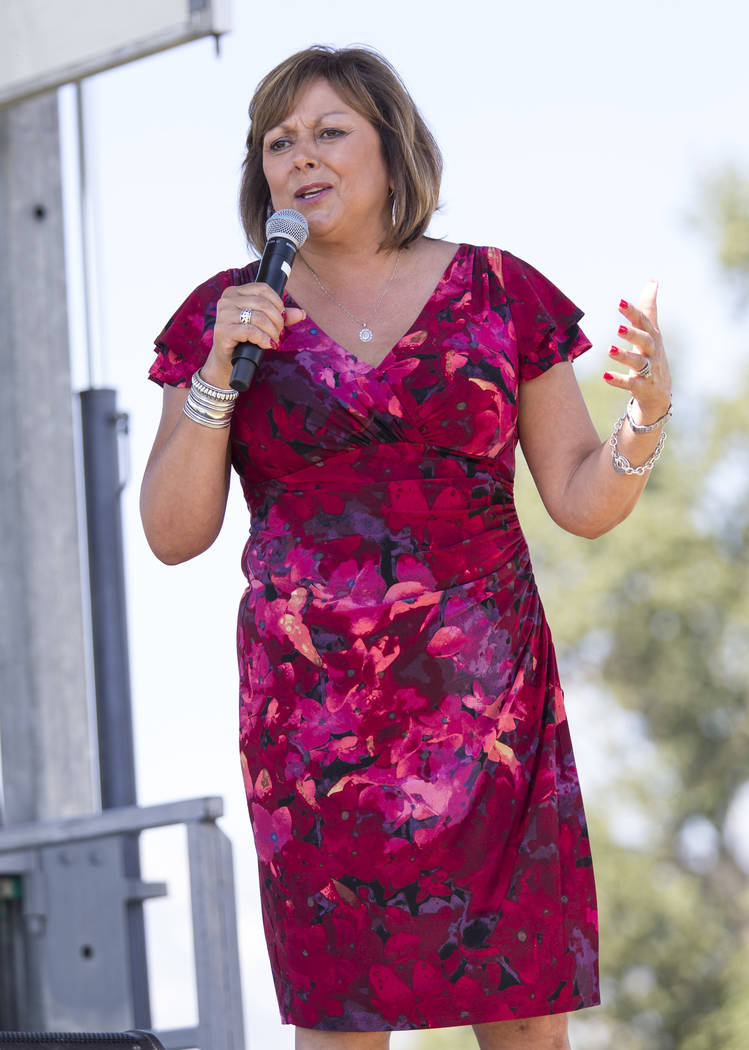 New Mexico Gov. Susana Martinez addresses the crowd during the third annual Basque Fry held at Corley Ranch in Gardnerville, Nev. on Saturday, Aug. 26, 2017. Richard Brian Las Vegas Review-Journal ...