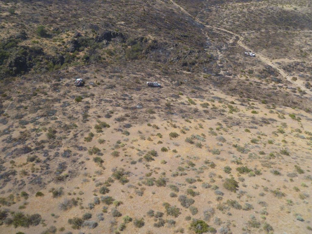 Special to the Pahrump Valley Times Seen in the photo are firefighters from the Nevada National Security Site Fire and Rescue fighting the fire from the ground. A helicopter from the NNSS' Remot ...