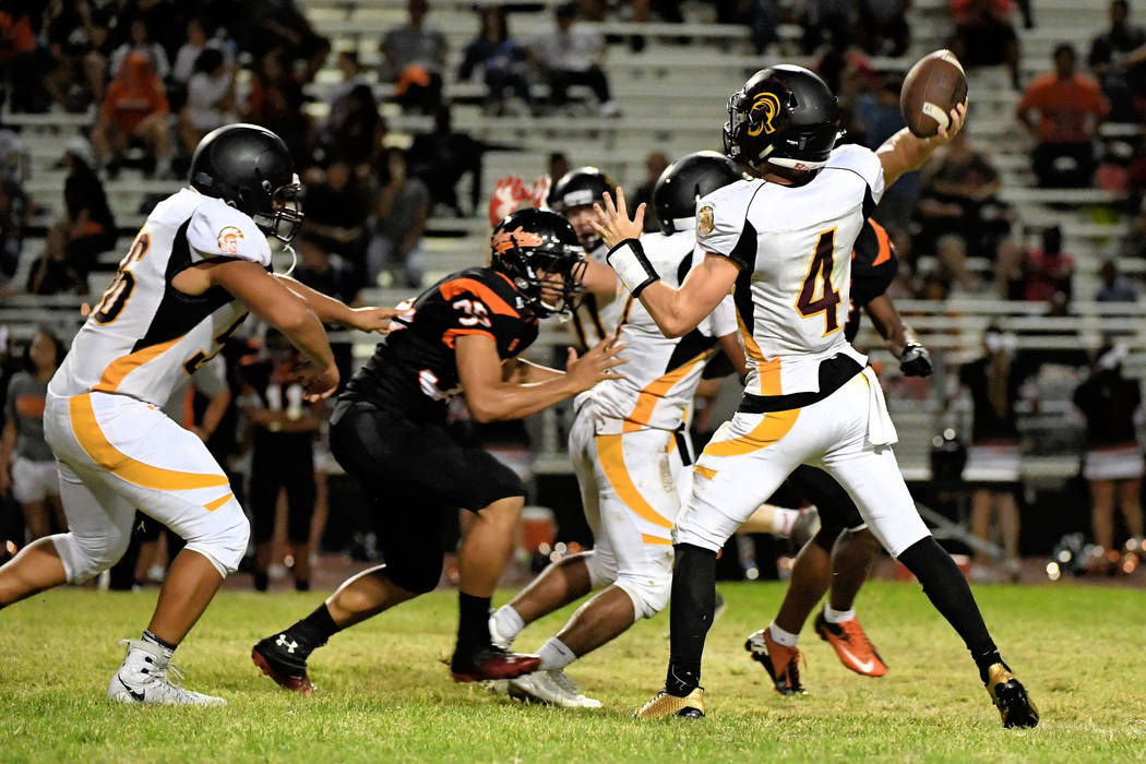 Peter Davis/Special to the Pahrump Valley Times Senior quarterback Dylan Coffman throws against Chaparral on Friday night. Coffman had 53-yards passing.