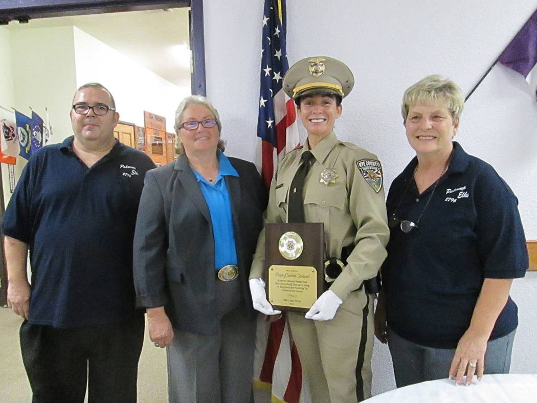 Special to the Pahrump Valley Times   Sheriff Sharon Wehrly presented Deputy Christina Sandoval with the sheriff's office Officer of the Year award at an event Aug. 19 at the Elks Lodge in Pahrump ...