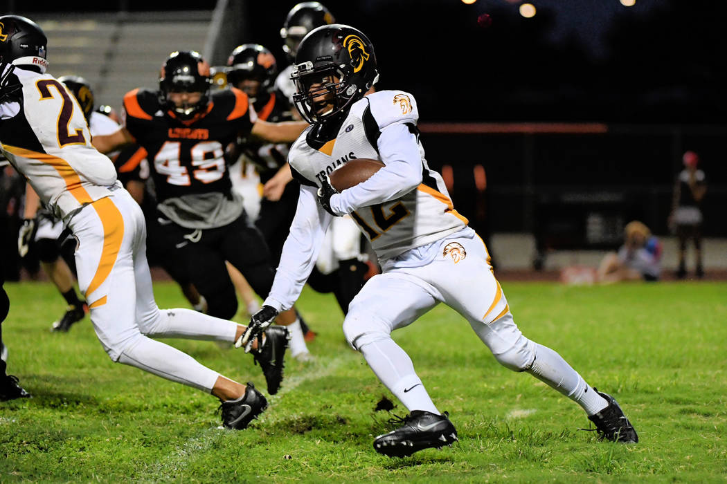 Peter Davis/Special to the Pahrump Valley Times  Nickolas Redmond looks for daylight against Chaparral last week. To beat Rancho, the Trojans need to find that daylight in a big way. The Pahrump r ...