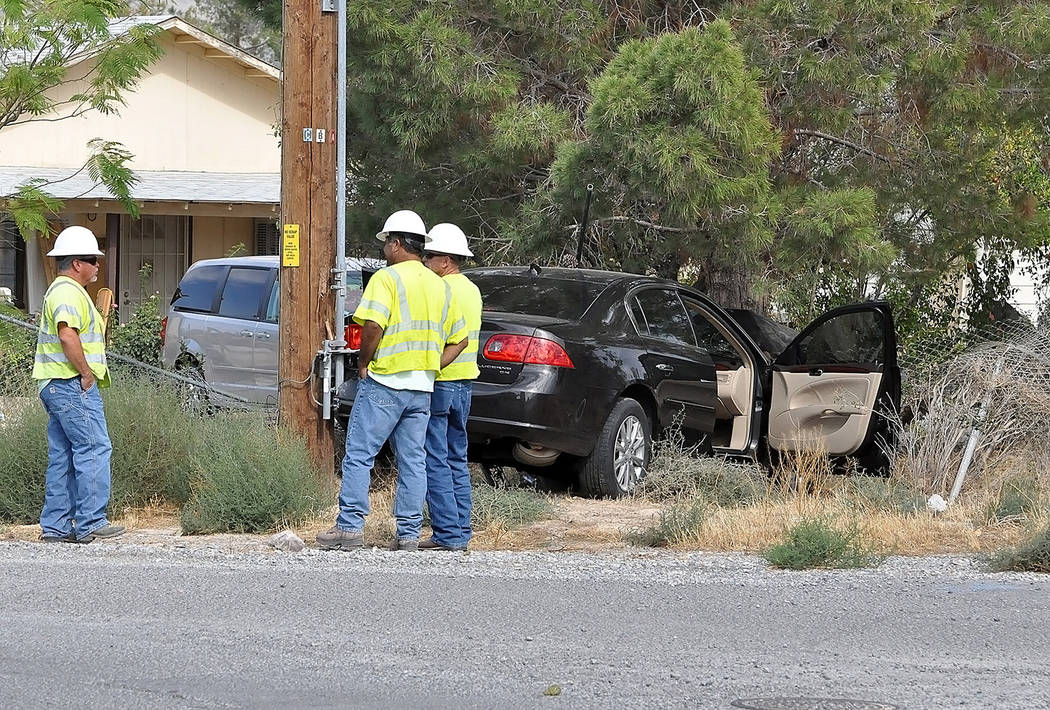 Horace Langford Jr./Pahrump Valley Times  A Tuesday morning single-vehicle crash at Blagg and Harris Farm Roads sent one woman to UMC Trauma in Las Vegas, via Mercy Air 21, as Valley Electric crew ...