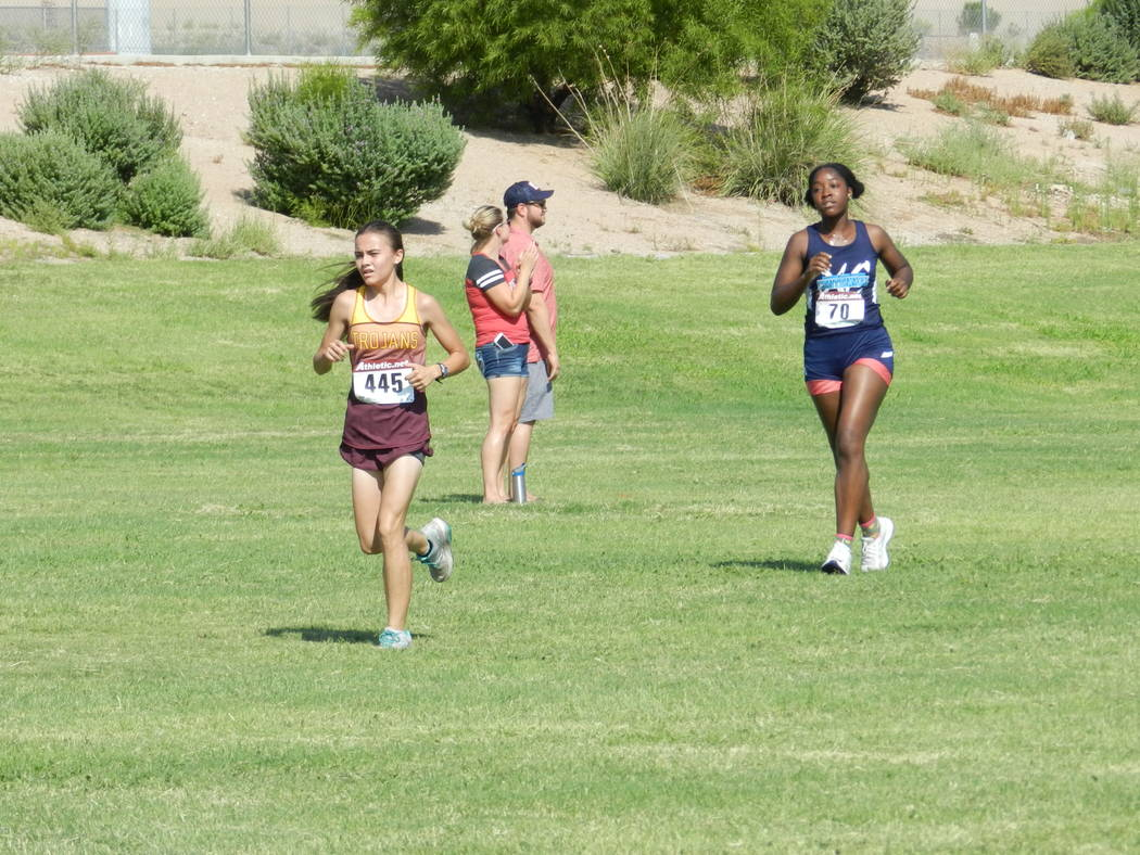 Special to the Pahrump Valley Times  Senior Grace Plumb was the first girl to cross for Pahrump Valley in the 11th-12th grade girls, finishing 30th out of 108 runners (24:08).