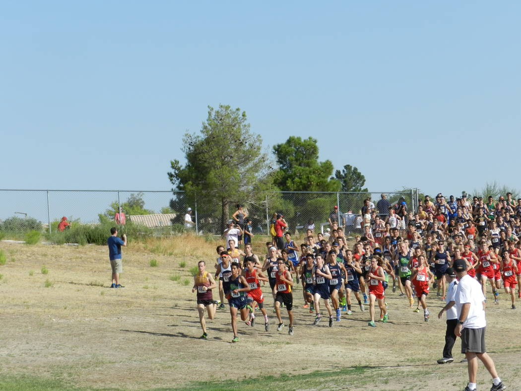 Special to the Pahrump Valley Times  The giant pack of runners at the beginning of the Labor Day Classic in Las Vegas. In the front is Milton Amezcua of Green Valley and Bryce Odegard of Pahrump.