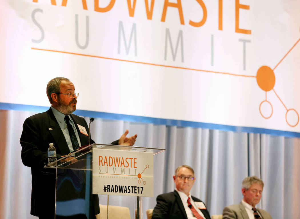 Elizabeth Brumley Las Vegas Review-Journal Commissioner and chairman of the Board of Nye County Dan Schinhofen speaks during a debate on restarting the Yucca Mountain Project at the JW Marriott ho ...