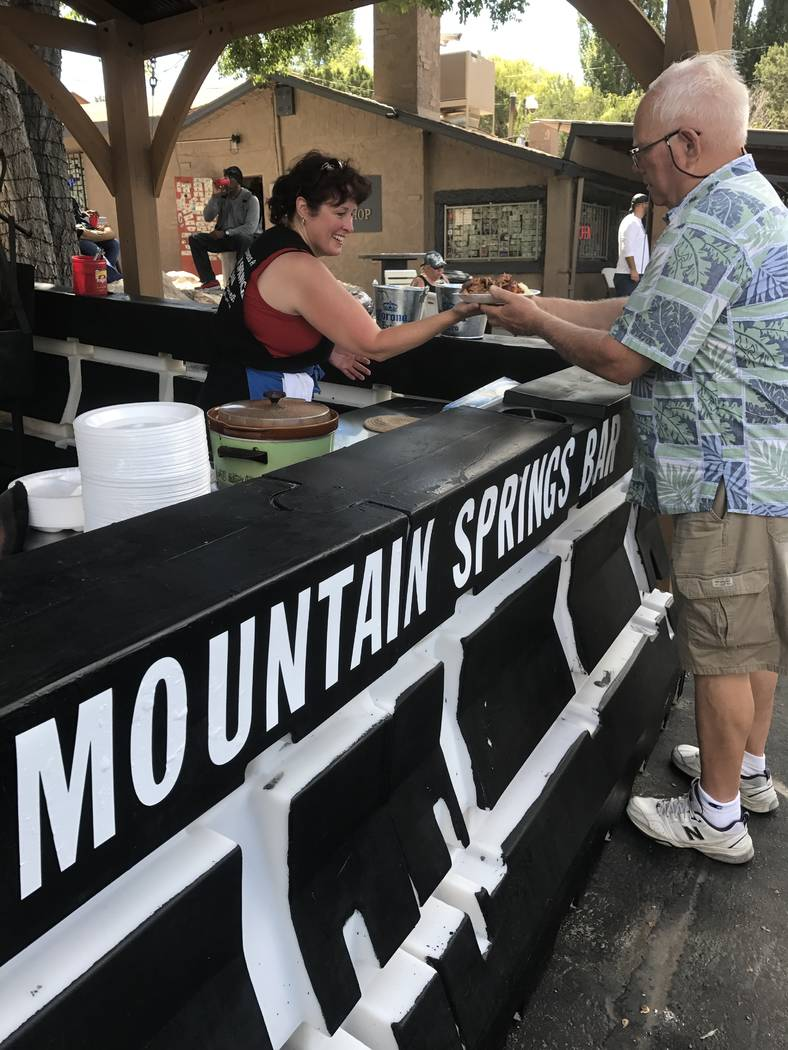 Jeffrey Meehan/Pahrump Valley Times  Several people showed up for an afternoon of barbecue in the mountainside on Aug. 26, 2017. The Mountain Springs Saloon at 19050 Nevada Highway 160 in Mountain ...