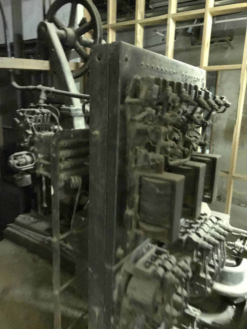Jeffrey Meehan/Times-Bonanza & Goldfield News An original elevator crank in the basement of the Goldfield Hotel on Aug. 5, 2017. Hotel owner Red Roberts is having the property renovated and co ...