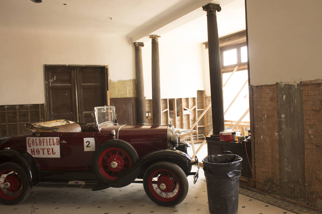 Jeffrey Meehan/Times-Bonanza & Goldfield News A Ford Model A sits inside the lobby of the Goldfield Hotel on Aug. 5, 2017. Hotel owner Red Roberts is moving forward on renovations at the 150-r ...