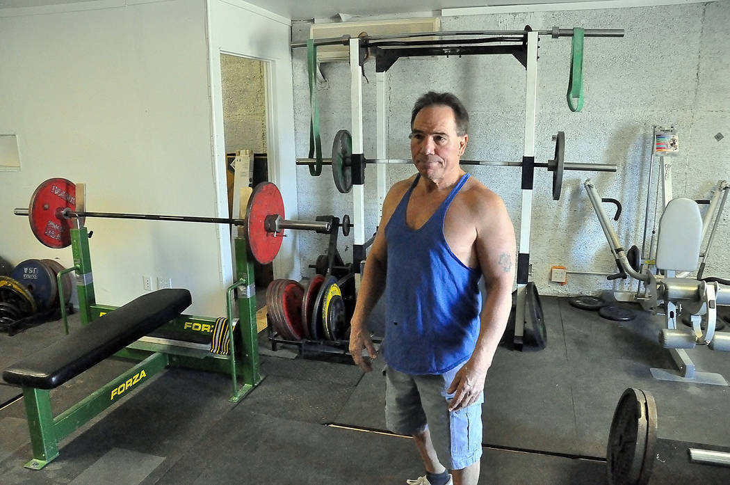 Horace Langford Jr./Pahrump Valley Times  Gary Miller stands in his Alien Rage Gym. At 66, he is a certified APFA trainer and is a strong advocate for senior health.