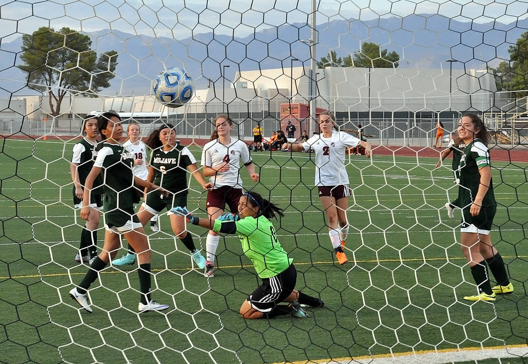 Horace Langford Jr./Pahrump Valley Times  Got net! Junior Grace Gundacker helps the cause as she scores goal number two of the second half just two minutes after Madelyn Souza scored the first one ...