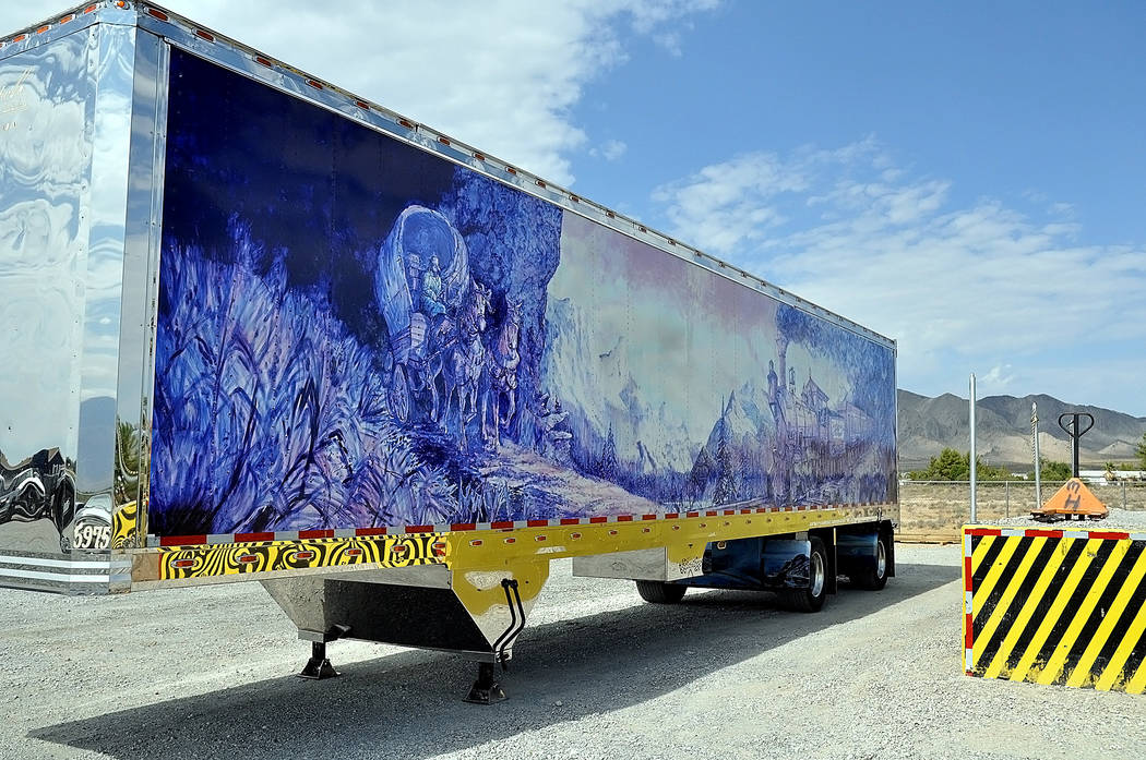 Horace Langford Jr./Pahrump Valley Times -  Top Notch Marcel Martel shows off his trailer that he personally painted.