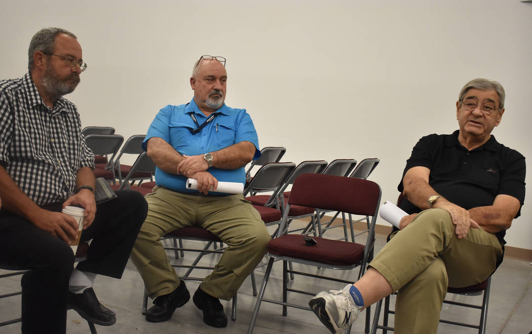 Photo by Daria Sokolova From left to right: Nye County Commission Chair Dan Schinhofen, Nye County Nuclear Waste Office Director Darrell Lacy and Michael Voegele, former chief scientist for Yucca  ...