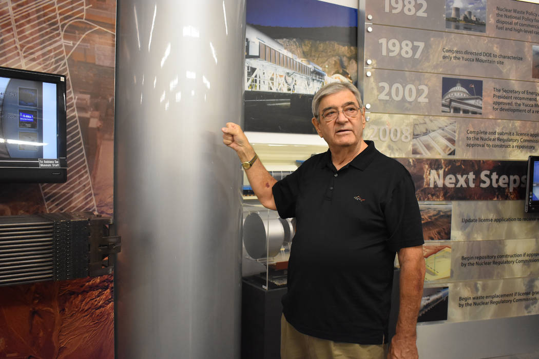 Photo by Daria Sokolova Michael Voegele, former chief scientist for Yucca Mountain, talked about the history of Yucca Mountain and why Nye County supports the project at the informational session  ...