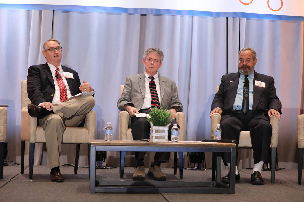 """Special to the Pahrump Valley Times From left to right: Moderator Eric Knox, Nevada Agency for Nuclear Projects Executive Director Bob Halstead and Nye County Commission Chair at the panel """"Yucca  ..."""