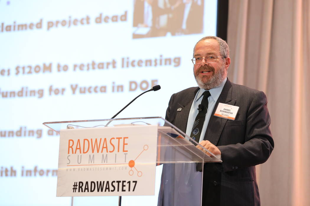 """Special to the Pahrump Valley Times Nye County Commission Chair speaks during the panel """"Yucca Mountain Restart"""" during the 2017 Radwaste Summit on Wednesday, Sept.6."""