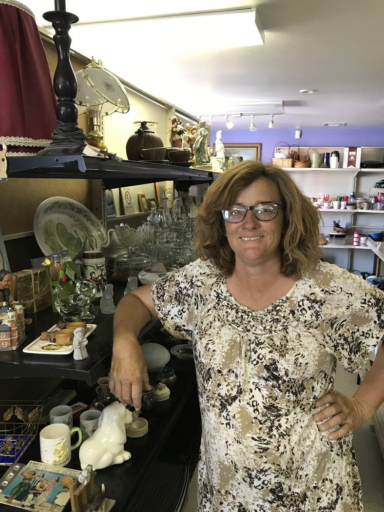 Jeffrey Meehan/Pahrump Valley Times Peggy Sanders heads up Pets are Worth Saving, a nonprofit that helps local pets find a new home, stands in her recently opened thrift store, Thrifty Paws, at 20 ...