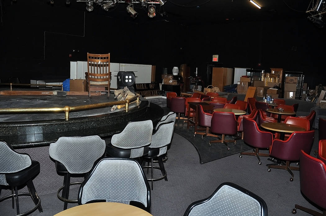 Horace Langford Jr./Pahrump Valley Times -  Former Kingdom Gentlemen's Club, now hall of antiquities will use the stage for community theater and other community entertainment. The back wall of th ...