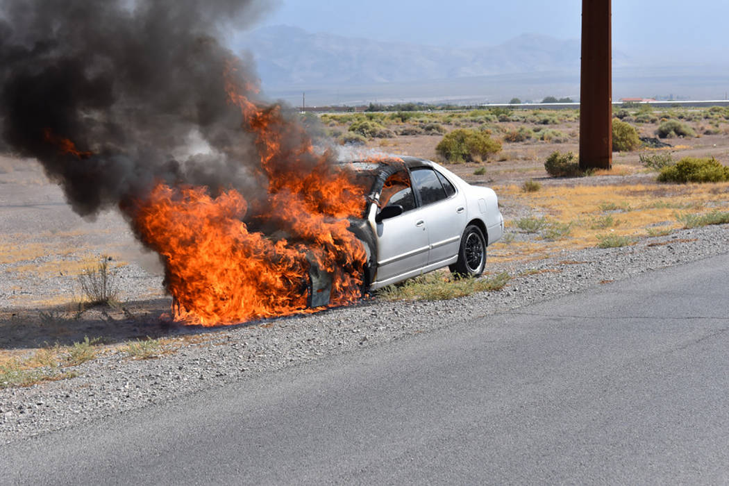 Special to the Pahrump Valley Times  No injuries were reported following a vehicle fire at Thousandaire Boulevard and Homestead Road on Friday morning, Sept. 8. Fire crews were able to extinguish  ...