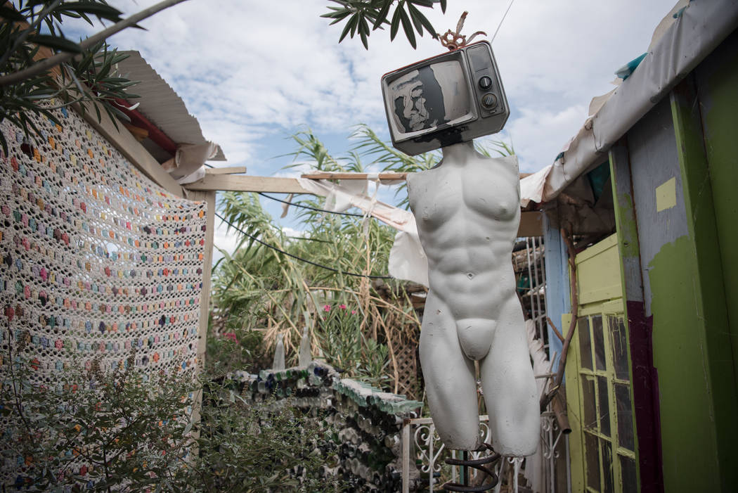 One of the many installation pieces at Villa Anita alternative living space on Tuesday, July 25, 2017, in Tecopa, California. (Morgan Lieberman/Las Vegas Review-Journal)