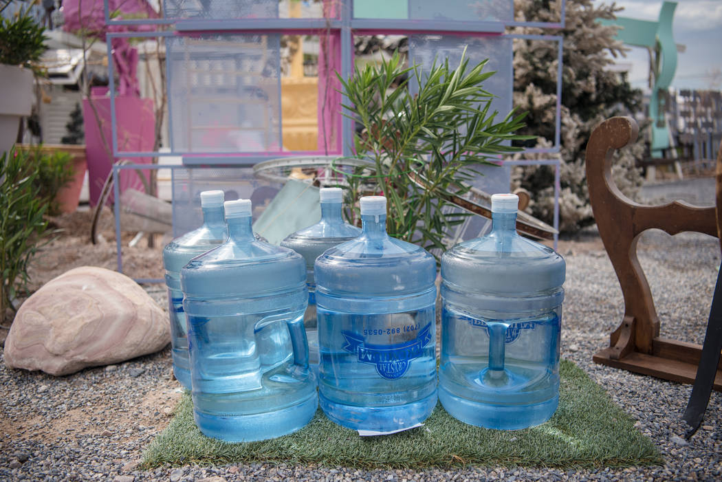 Villa Anita filtered water containers sit outside the residence on Tuesday, July 25, 2017, in Tecopa, California. (Morgan Lieberman/Las Vegas Review-Journal)