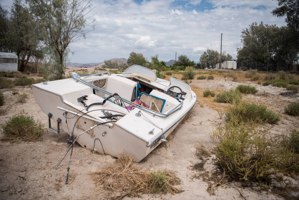 Some residential items within the dirt on Tuesday, July 25, 2017, in Tacopa, California. (Morgan Lieberman/Las Vegas Review-Journal)