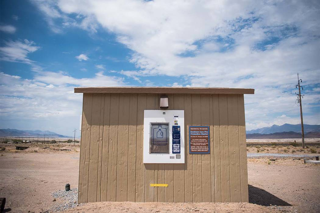 A filtered water vending machine installed in Tecopa, California, on Tuesday, July 25, 2017. Morgan Lieberman Las Vegas Review-Journal