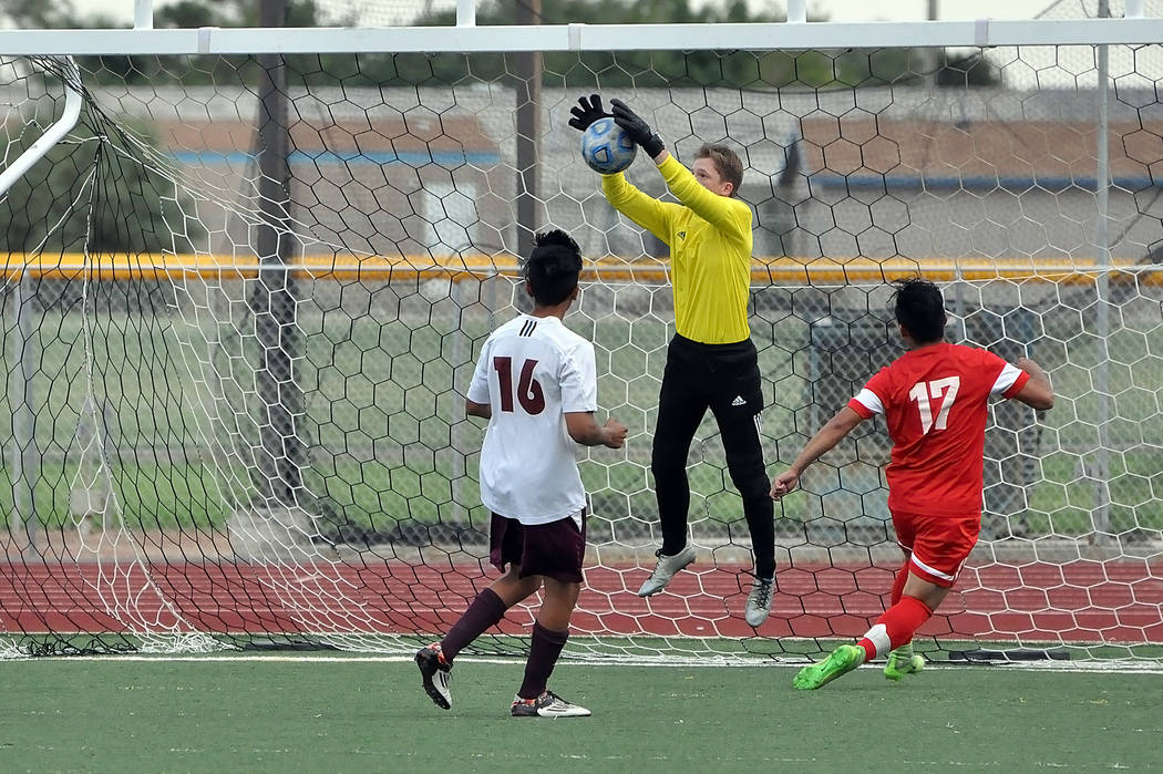 Horace Langford Jr./Pahrump Valley Times Pahrump Valley's goalkeeper, sophomore Ian Kingsley, was kept busy all night as the Warriors scored eight goals.