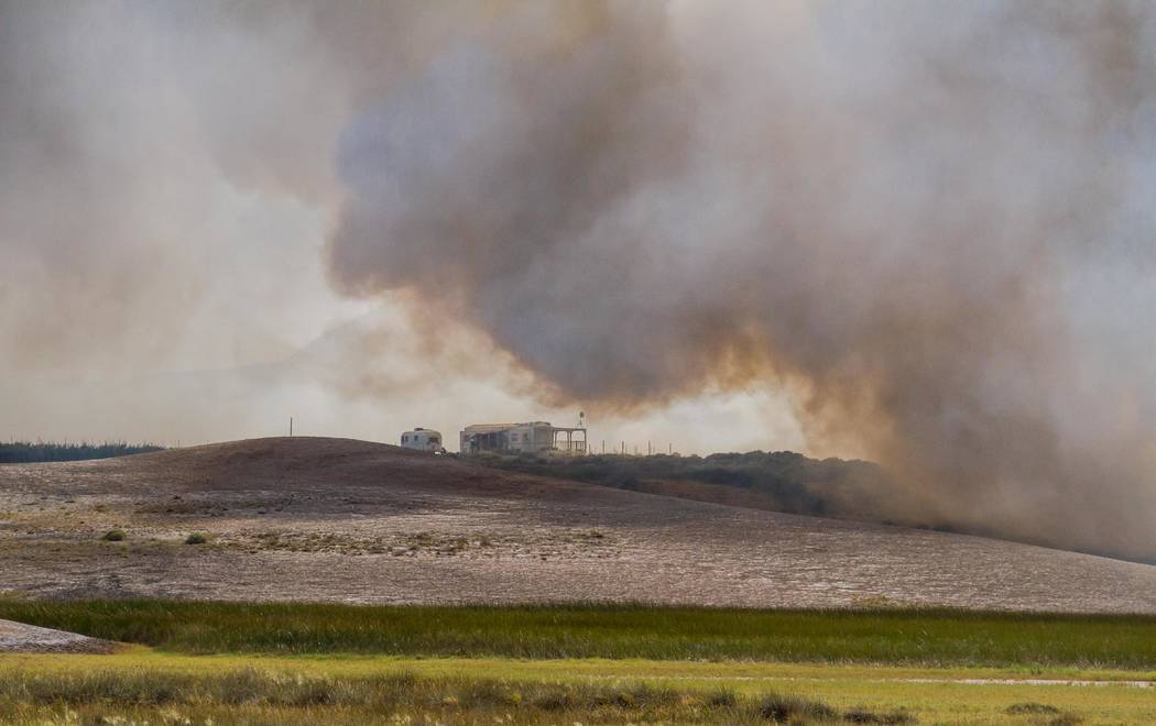 Nancy Good Special to the Pahrump Valley Times Pahrump Valley Fire-Rescue fought a brush fire in Tecopa on Sept. 11, 2017 that lasted more than five hours. The blaze was thought to have been start ...