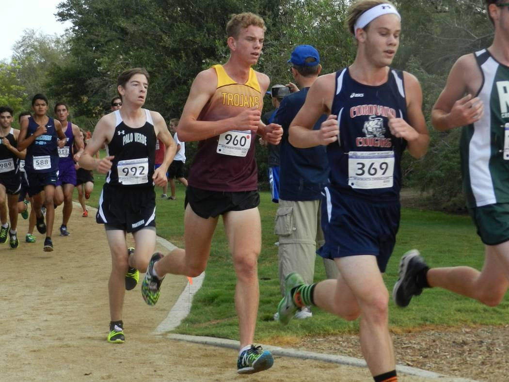 Special to the Pahrump Valley Times Senior cross-country runner Layron Sonerholm, seen at full speed at the Larry Burgess Invitational in Las Vegas on Saturday. Sonerholm finished ninth (16:43).