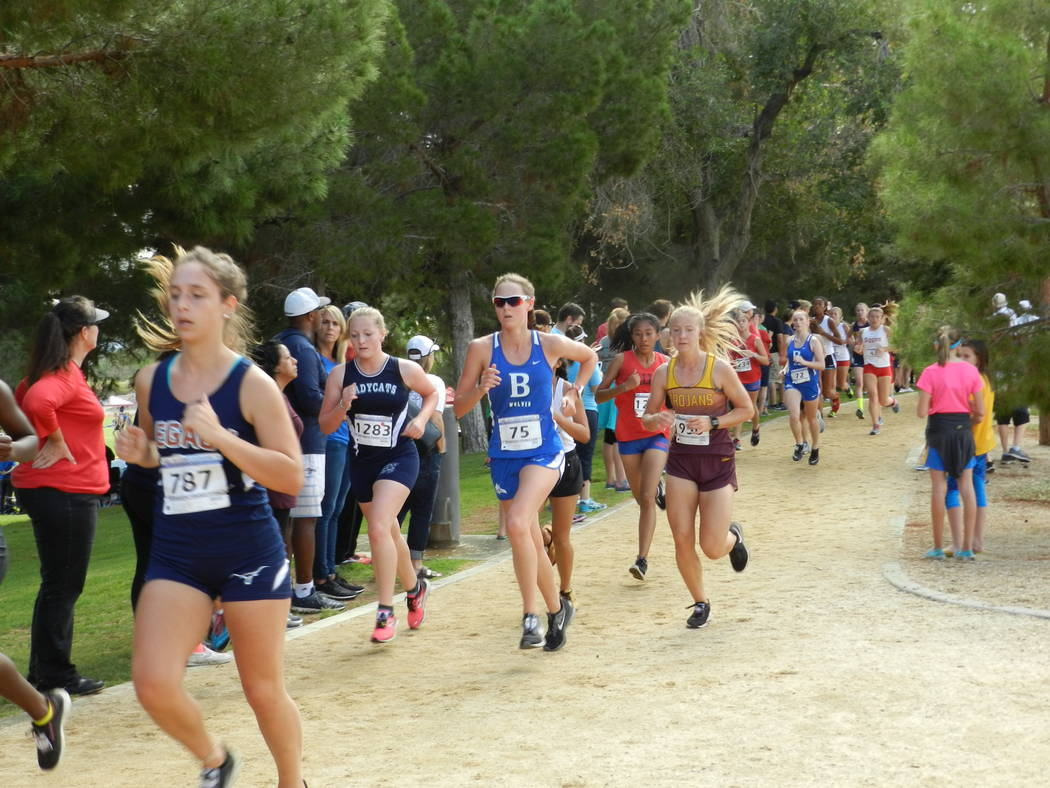 Special to the Pahrump Valley Times Sophomore Terrena Martin (seen to the right of the girl in blue) finished in 26th (23:16) at the Larry Burgess Invitational on Saturday.