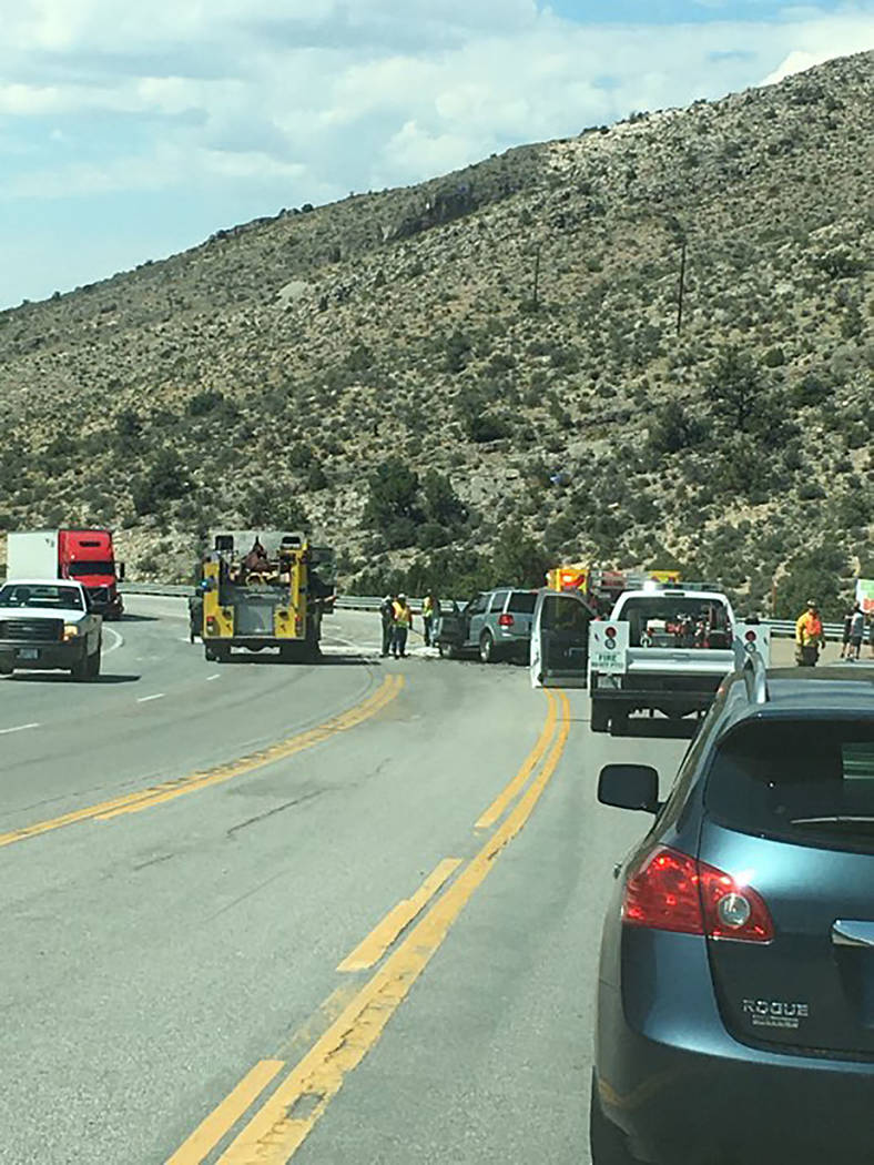 Bruce Holleman/Special to the Pahrump Valley Times A look at the crash scene Monday along Highway 160 between Pahrump and Las Vegas. The highway reopened in both directions at 6:40 p.m., the Nevad ...