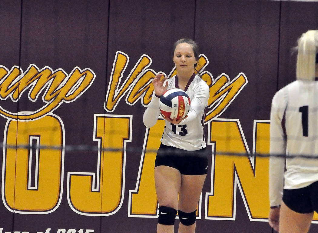 Horace Langford Jr./Pahrump Valley Times  Junior volleyball player Jackie Stobbe serves the ball last year. She is one of two returning players this year and a team player. She is one of those ath ...