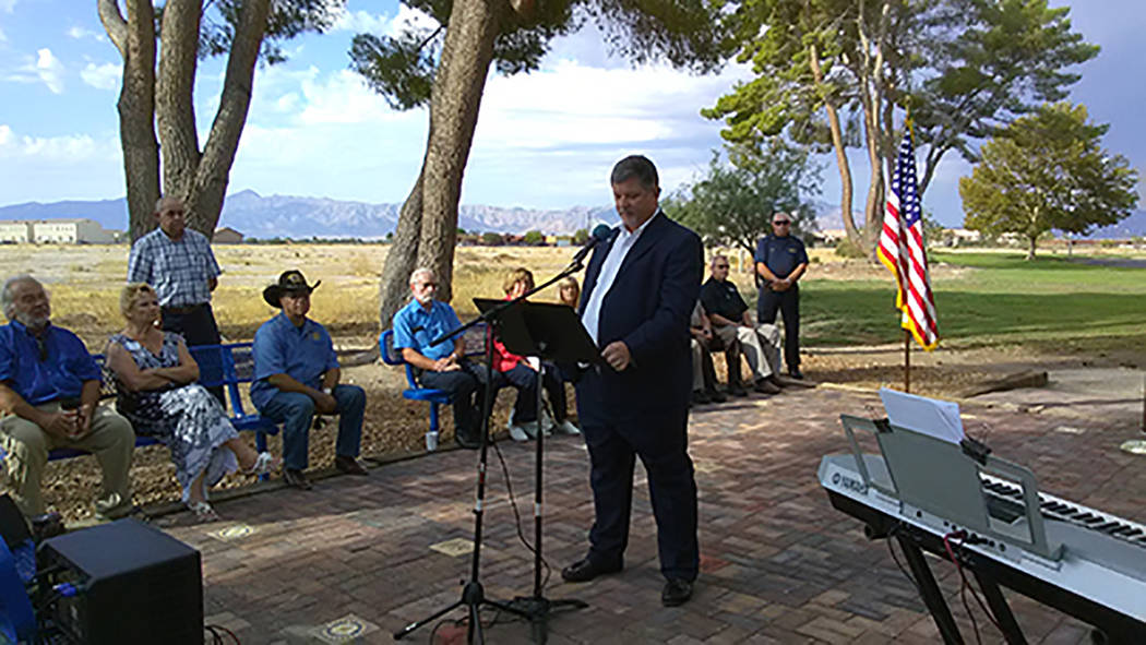 Selwyn Harris/Pahrump Valley Times Nevada District 36 Assemblyman James Oscarson provided numerous thoughts and remarks on the 9/11 tragedy, which took place 16 years-ago on Monday. Oscarson was o ...