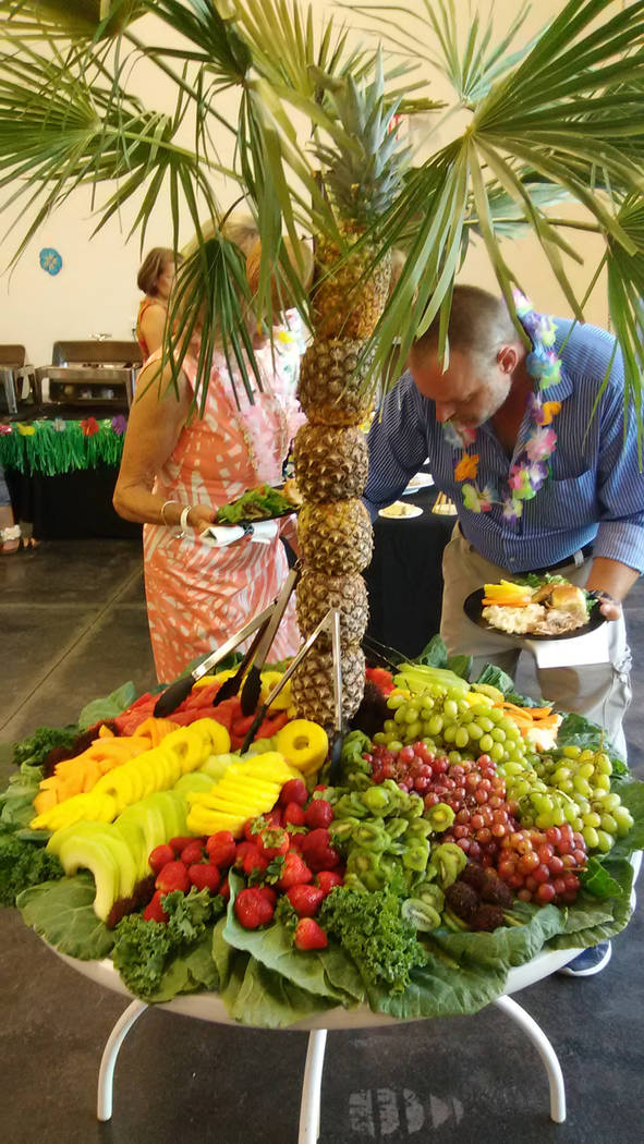 Selwyn Harris/Pahrump Valley Times  A tropical creation consisting of assorted fruits was a hit among attendees at the luau.