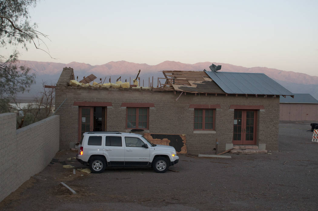 Special to the Pahrump Valley Times Extremely high winds in the Cow Creek administrative area of the Death Valley National Park blew the roof off of a historic office building dating back to the C ...