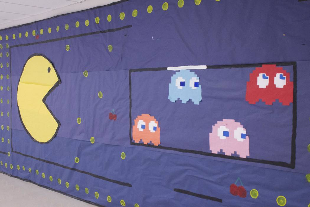 Jeffrey Meehan/Pahrump Valley Times  Students at Pahrump Valley High School decorated the walls through the decades in celebration of the school's homecoming football game with Boulder City Eagles ...