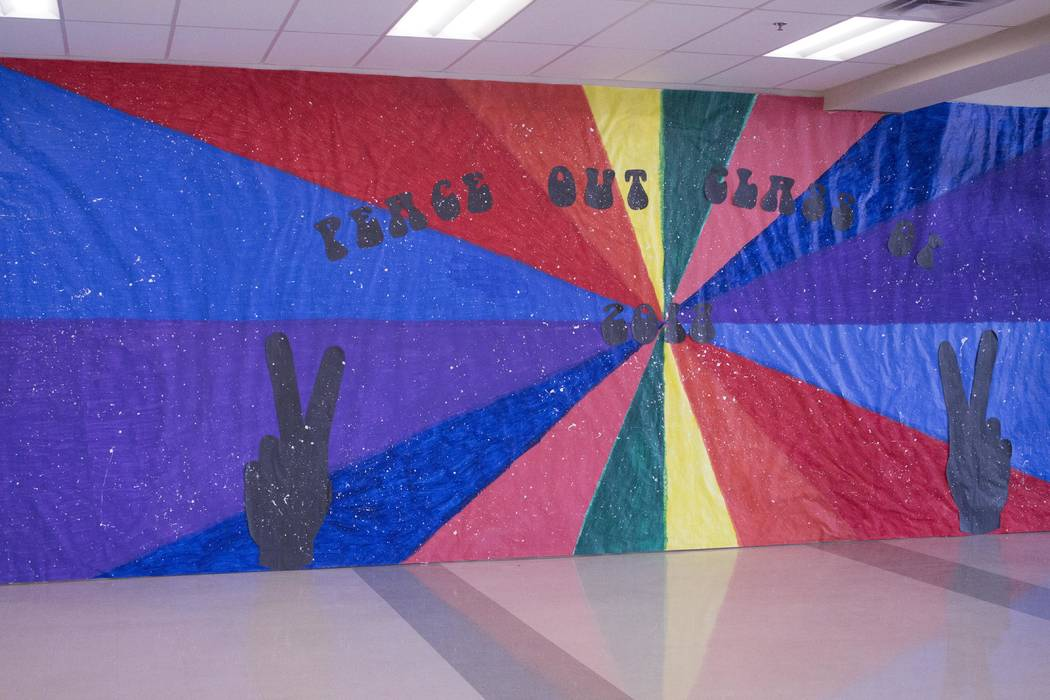 Jeffrey Meehan/Pahrump Valley Times  Students at the Pahrump Valley High School commemorate the walls with the era of peace and love: the '60s. The decoration comes as several classes compete for  ...
