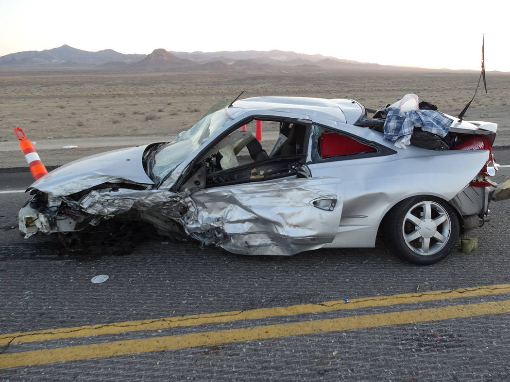 Nevada Highway Patrol The scene of the wreck Sept. 2 along U.S. Highway 6 in Esmeralda County. One person was killed.