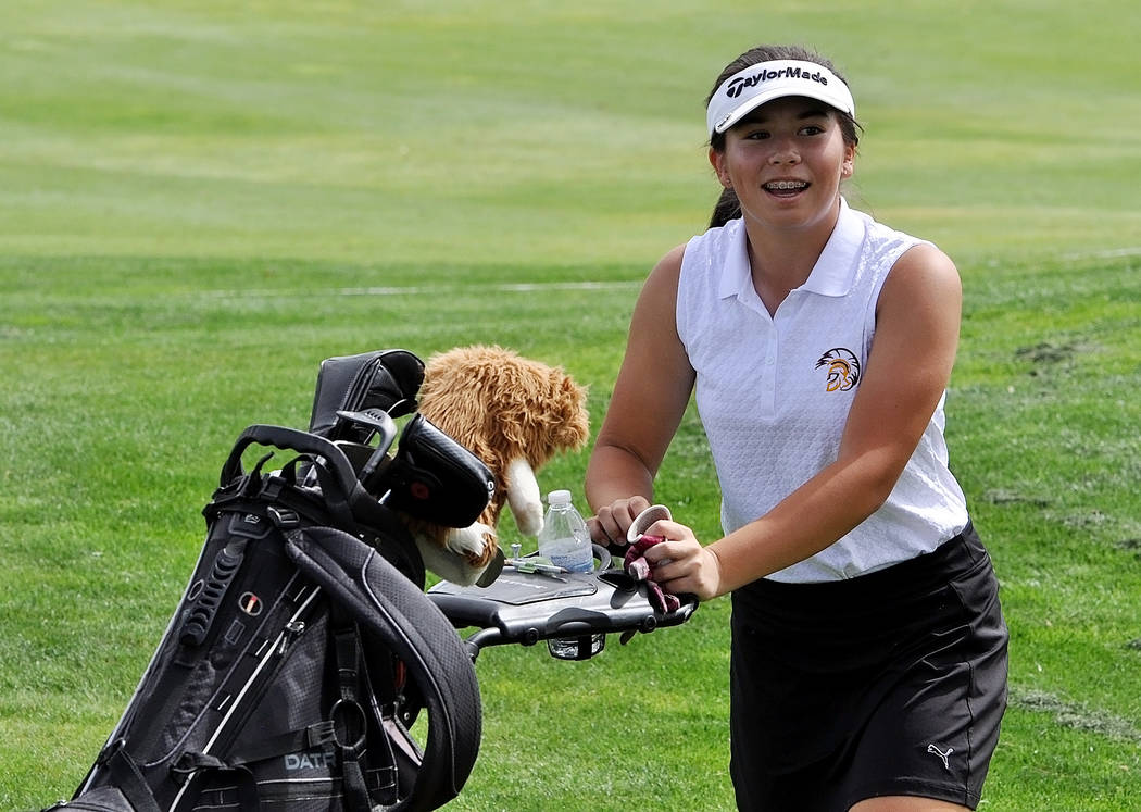 Horace Langford Jr./Pahrump Valley Times  Golfer Breanne Nygaard flashes a quick smile at the camera and then she is all business, hitting four birdies on the first four holes.