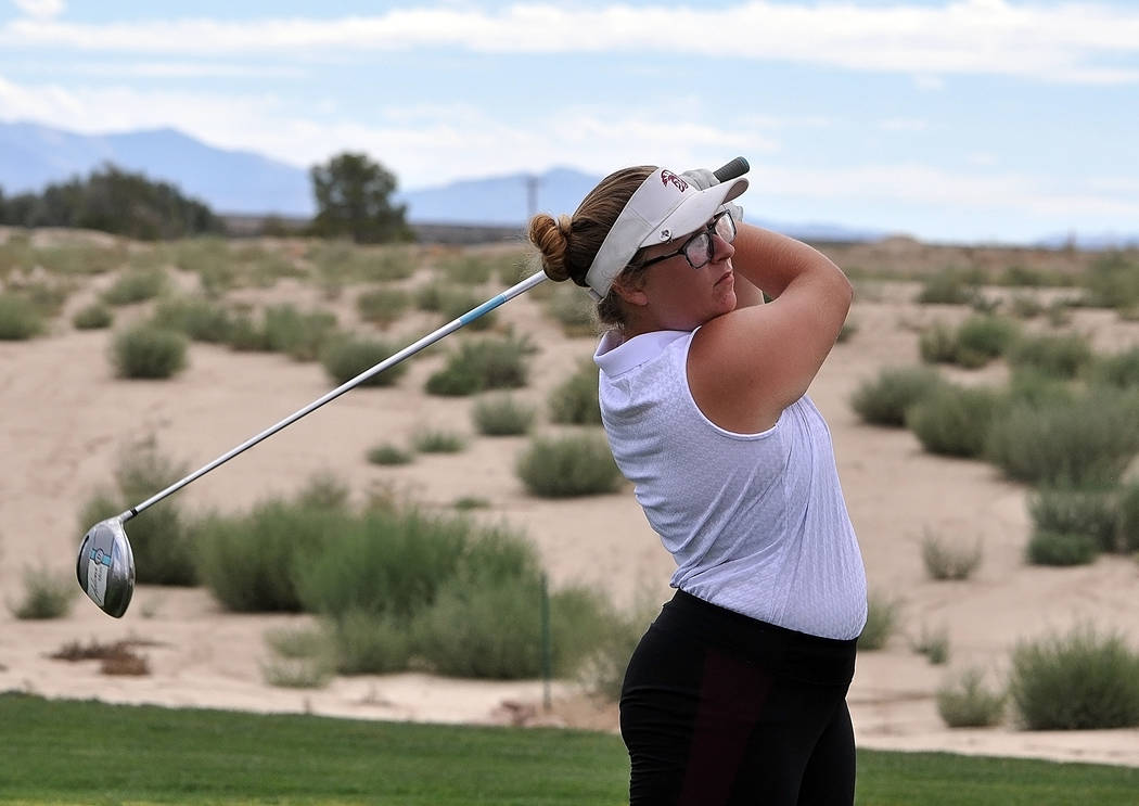 Desirae Hembree drives the ball at Mountains Falls Golf Course on Wednesday. She finished fourth (103) in match play.