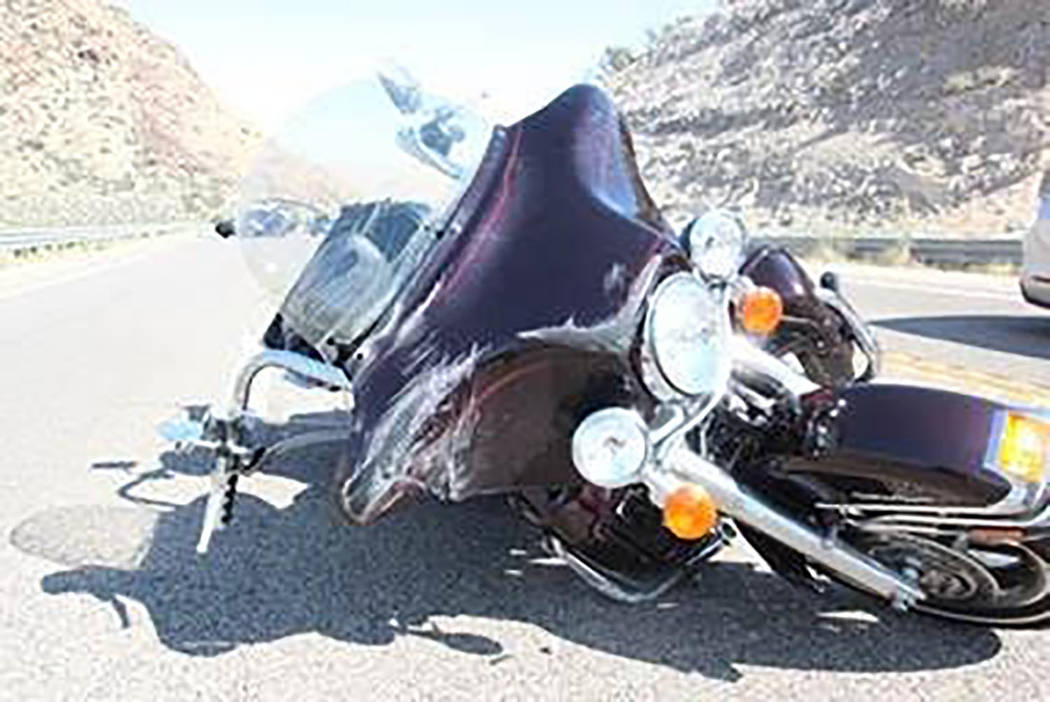 Nevada Highway Patrol A look at the motorcycle involved in the fatal wreck on Sept. 26 along Nevada Highway 160 between Las Vegas and Pahrump. The crash remains under investigation by the Nevada H ...