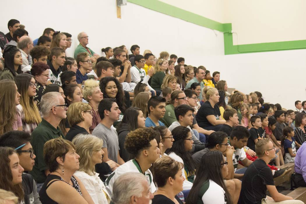 Jeffrey Meehan/Pahrump Valley Times Students gather at Beatty High School gymnasium where Valley Communications hosts an event welcoming Beatty as the first in the state to be an all fiber-optic c ...