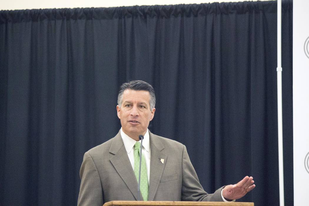 Jeffrey Meehan/Pahrump Valley Times Gov. Brian Sandoval speaks during an event at Beatty High School welcoming Beatty as the first community in the Silver State to be on all fiber-optic lines for  ...