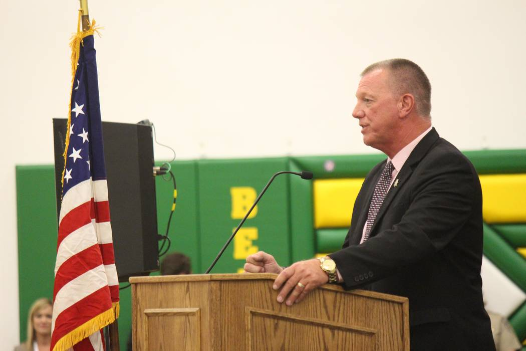 Jeffrey Meehan/Pahrump Valley Times Dale Norton, Nye County School District superintendent, speaks about what being an all fiber-optic community will mean for education and the school district at  ...
