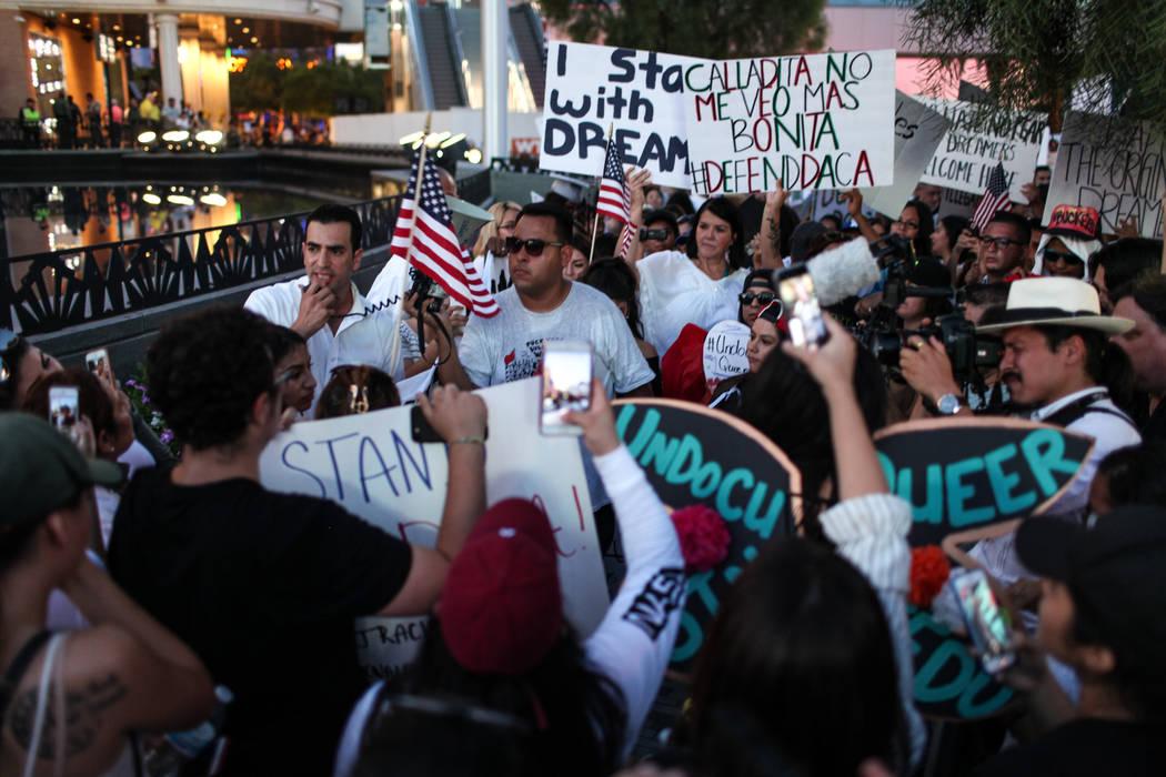 Joel Angel Juarez/Las Vegas Review-Journal U.S. Rep. Ruben Kihuen speaks during a rally of Deferred Action for Childhood Arrival program (DACA) recipients and supporters in the Strip in Las Vegas, ...