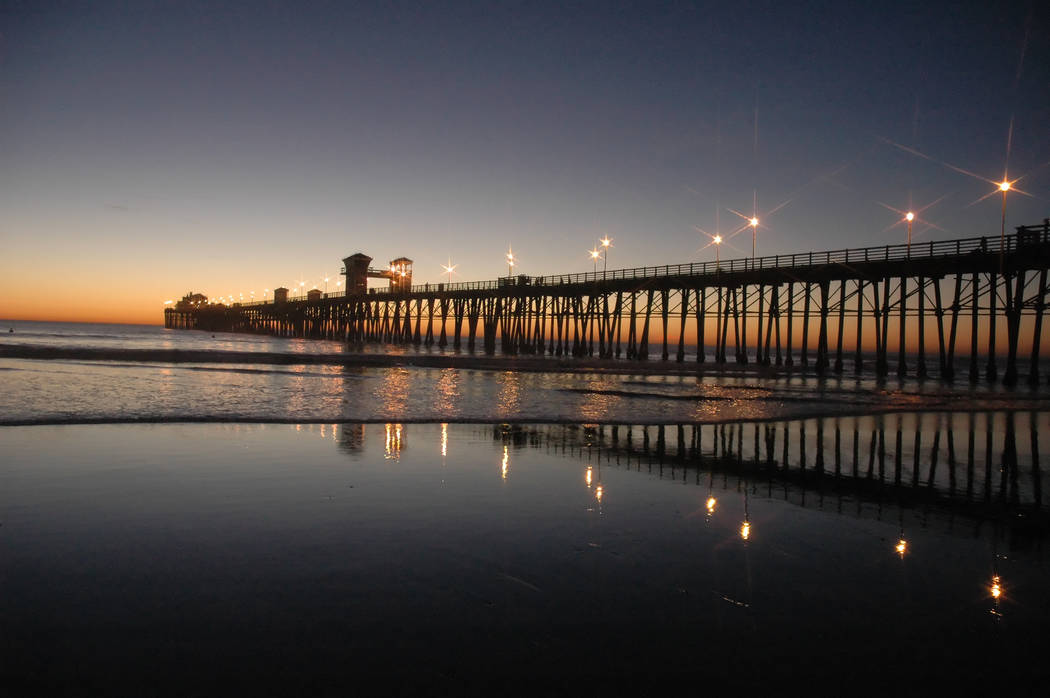 Gary Bennett/Special to the Pahrump Valley Times The tide heads out during sunset at the Oceanside Pier in Oceanside, Californa.